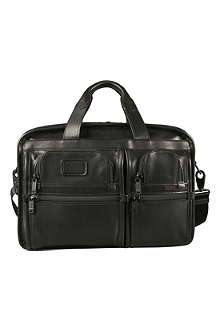 TUMI Alpha expandable organiser leather laptop briefcase