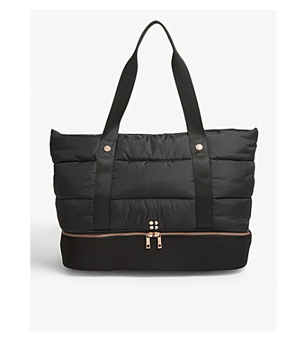SWEATY BETTY Luxe quilted shell gym bag (Black