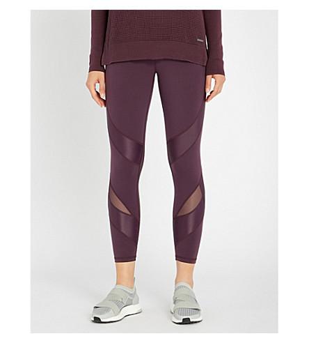 SWEATY BETTY Power 7/8 wetlook jersey and mesh leggings (Purple