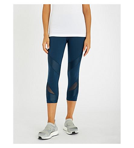 SWEATY BETTY Power Mesh 7/8 cropped jersey leggings (Blue