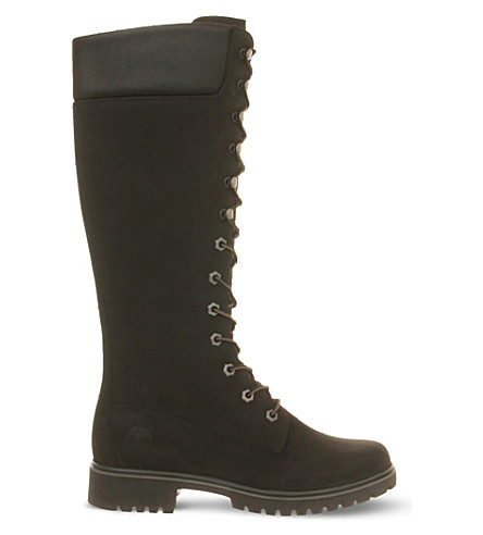 TIMBERLAND 14-inch lace-up leather boots (Black+nubuck