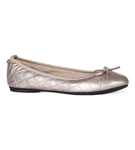 BUTTERFLY TWISTS Olivia quilted ballet pumps (Rose+gold