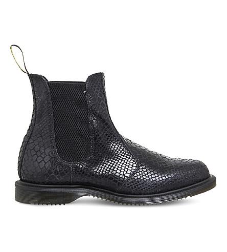 DR. MARTENS Kensington Flora snake-pattern Chelsea boots (Black+snake