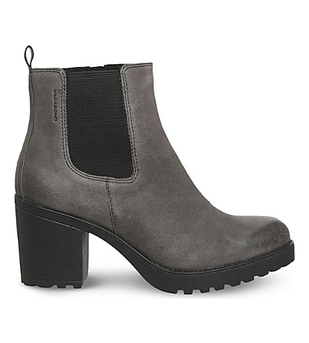VAGABOND Grace heeled leather Chelsea boots (Dark+grey+nubuck