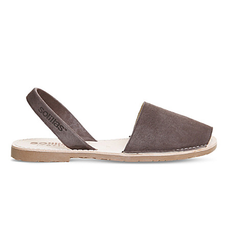 SOLILLAS Nubuck leather sandals (Dark+grey+nubuck