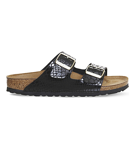 BIRKENSTOCK Arizona faux snake-leather sandals (Shiny+snake+black