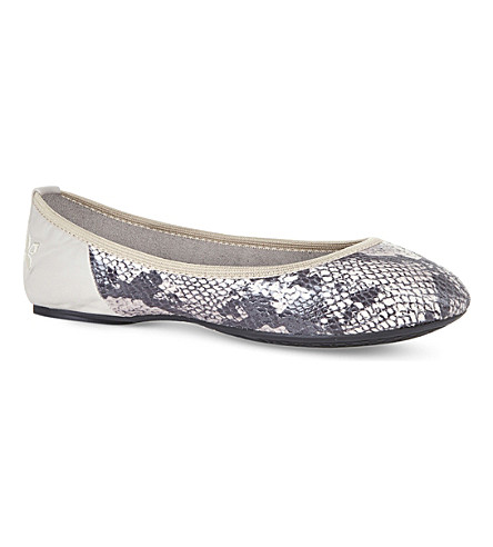 BUTTERFLY TWISTS Vivienne foldable snakeskin-effect ballet pumps (Stone+snake+print