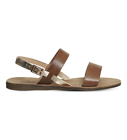 OFFICE Honey sling back leather sandals (Tan+and+rose+gold