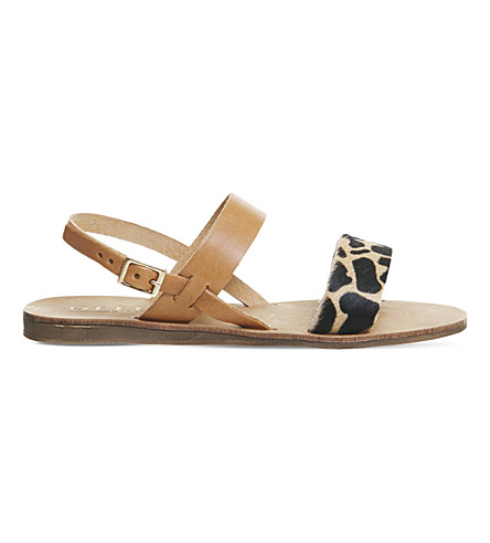 OFFICE Honey giraffe-print sling back leather sandals (Tan+leather+giraffe