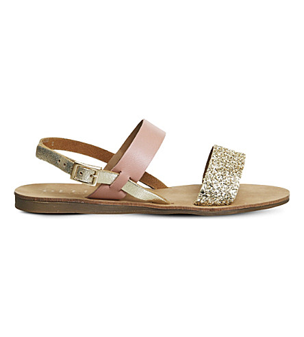OFFICE Honey glitter sling back leather sandals (Pink+glitter