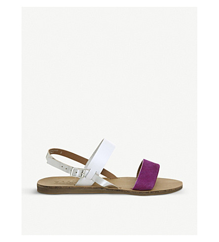 OFFICE Honey pony and leather slingback sandals (Purple+pony+white