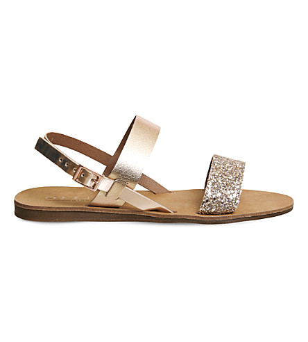 OFFICE Honey sling back leather sandals (Rose+gold+leather