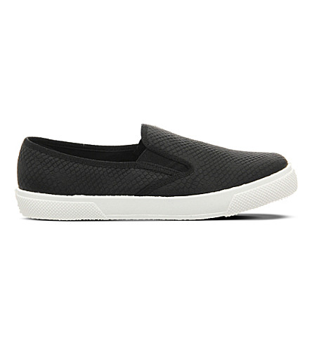 OFFICE Kicker snakeskin-effect slip-on trainers (Black+snake
