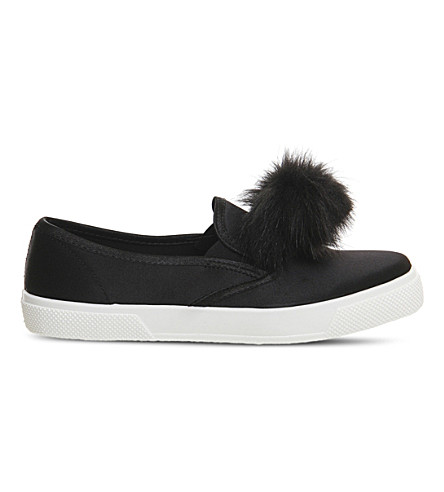 OFFICE Kicker satin skate shoes (Black+satin+pom+pom