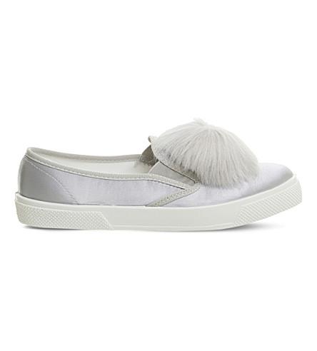 OFFICE Kicker satin skate shoes (Grey+satin+pom+pom