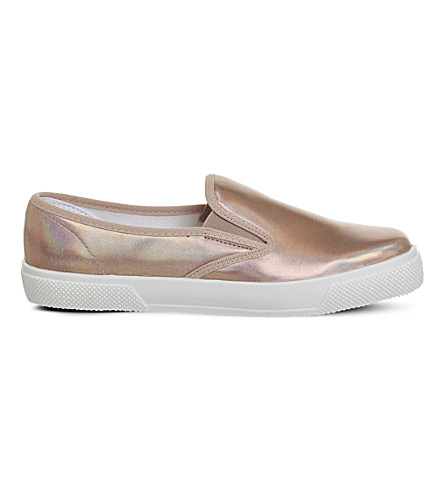 OFFICE Kicker irridescent hologram slip-ons (Rose gold hologram