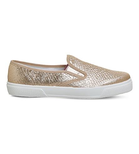 OFFICE Kicker snakeskin-embossed skate shoes (Rose+gold+snake