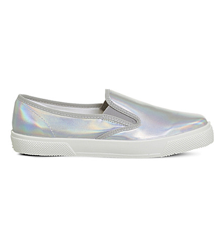 OFFICE Kicker irridescent hologram slip-ons (Silver+hologram