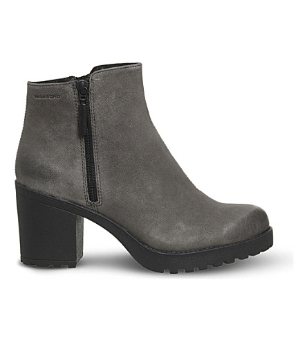 VAGABOND Grace leather ankle boots (Stone+grey+nubuck