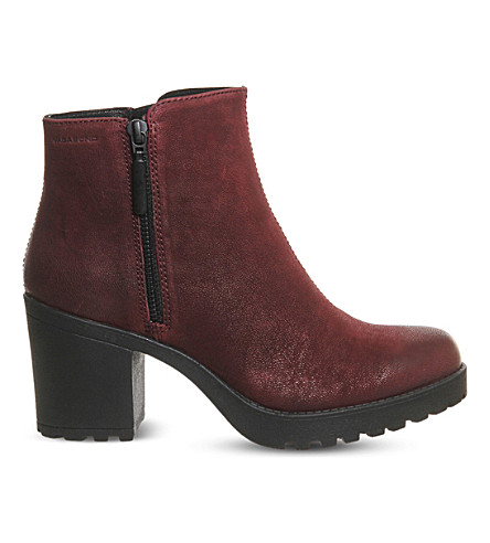 VAGABOND Grace leather ankle boots (Wine+nubuck