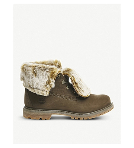 TIMBERLAND Faux-fur nubuck leather boots (Canten+nubuck