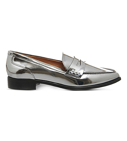OFFICE Vibe pointed-toe loafers (Gun metal silver