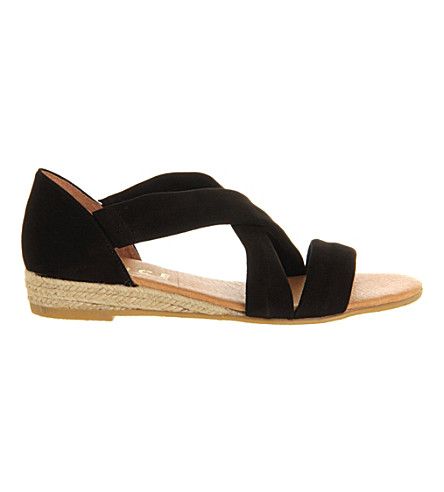OFFICE Hallie cross-strap espradrilles (Black+suede