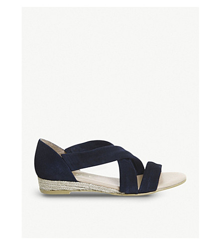 OFFICE Hallie cross-strap suede espradrille (Navy+suede