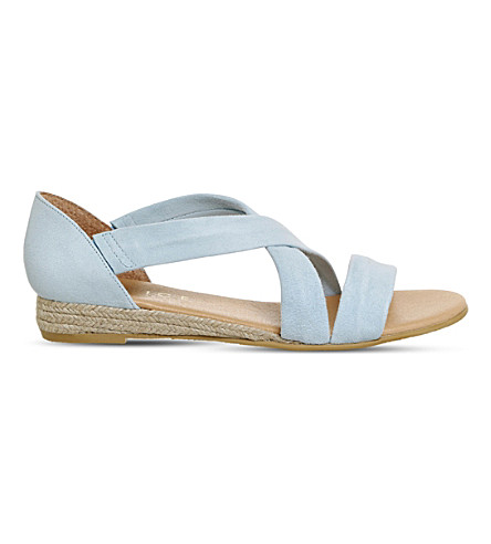 OFFICE Hallie cross-strap suede sandals (Pastel+blue+suede