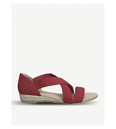 OFFICE Hallie cross-strap suede sandals (Red+suede