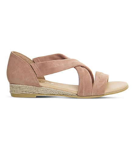 OFFICE Hallie cross-strap suede sandals (Blush+suede