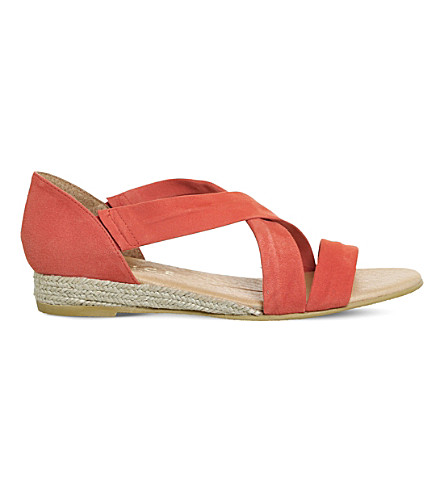 OFFICE Hallie cross-strap suede sandals (Bright+coral+suede