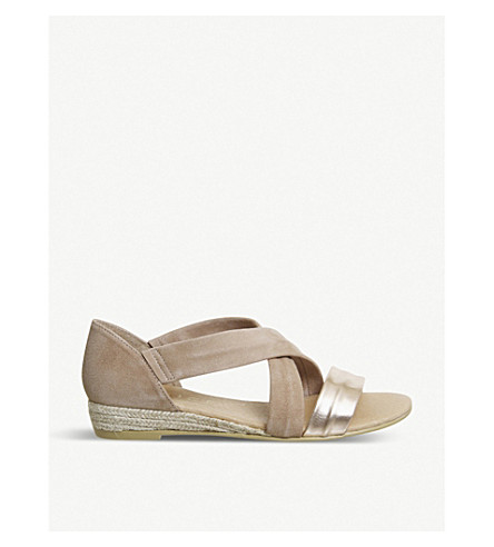 OFFICE Hallie cross-strap suede sandals (Nude+suede+gold