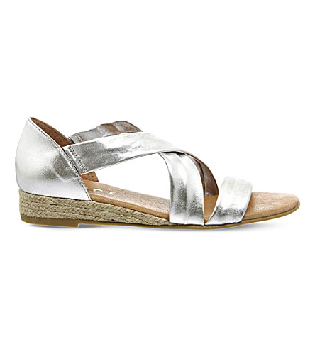 OFFICE Hallie metallic-leather sandals (Silver+leather