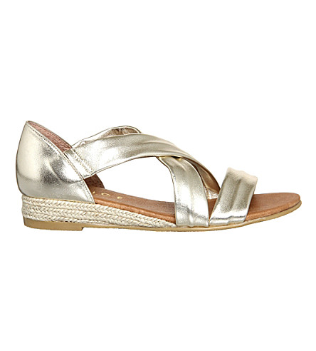 OFFICE Hallie cross-strap espradrilles (Gold+metallic+leathe