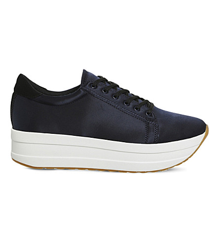 VAGABOND Casey flatform satin trainers (Dark+blue+satin