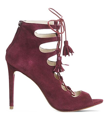 OFFICE Parisian suede ghillie heeled sandals (Berry kid suede