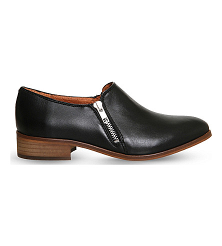 OFFICE Lex zipped leather loafers (Black+leather