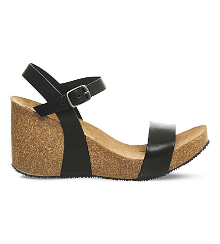 OFFICE Whistler leather and cork wedges (Black+leather