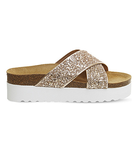 OFFICE Warner glitter platform sandals (Rose+gold+glitter