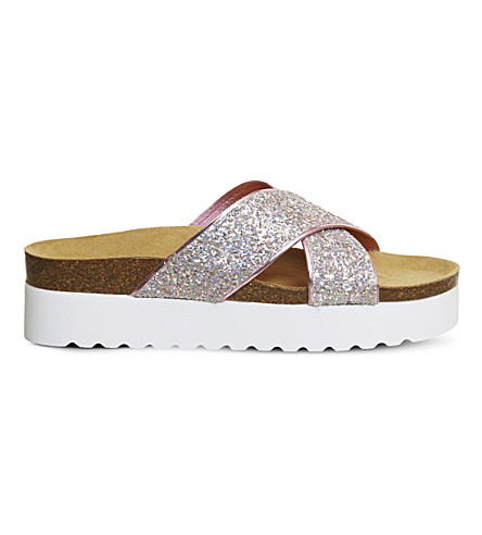 OFFICE Warner glitter platform sandals (Pink+holographic