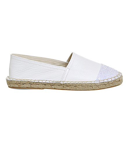 OFFICE Lucky leather glitter-detail espadrilles (White+iridescent
