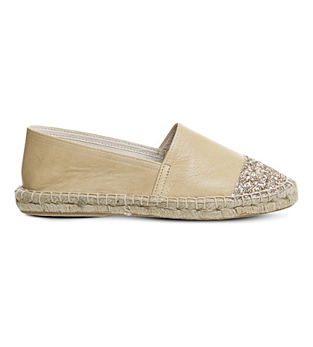 OFFICE Lucky leather glitter-detail espadrilles (Nude+rose+gold
