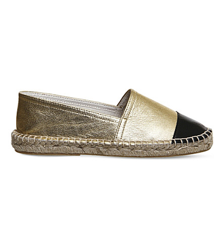OFFICE Lucky leather espadrilles (Gold black leather