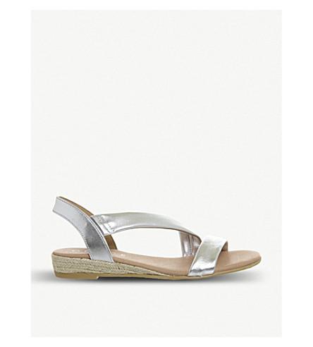 OFFICE 海蒂 espadrille 金属皮革凉鞋 (银色 + 皮革