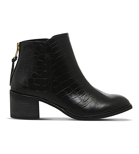 OFFICE Inventive crocodile-effect leather ankle boots (Black+leather