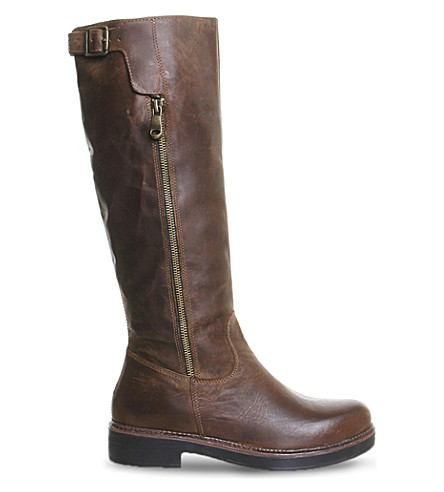 OFFICE Eagle leather knee-high boots (Brown leather
