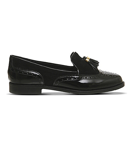 OFFICE Ringo leather and suede tassel loafers (Black+patent+suede