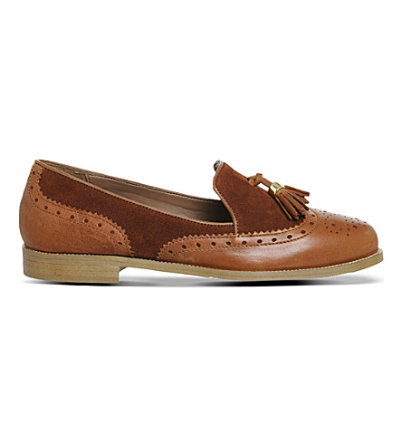 OFFICE Ringo leather and suede loafers (Tan+leather+suede
