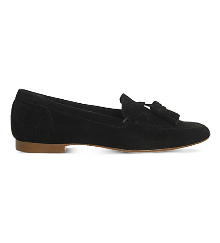 OFFICE Retro suede tassel loafers (Black+suede